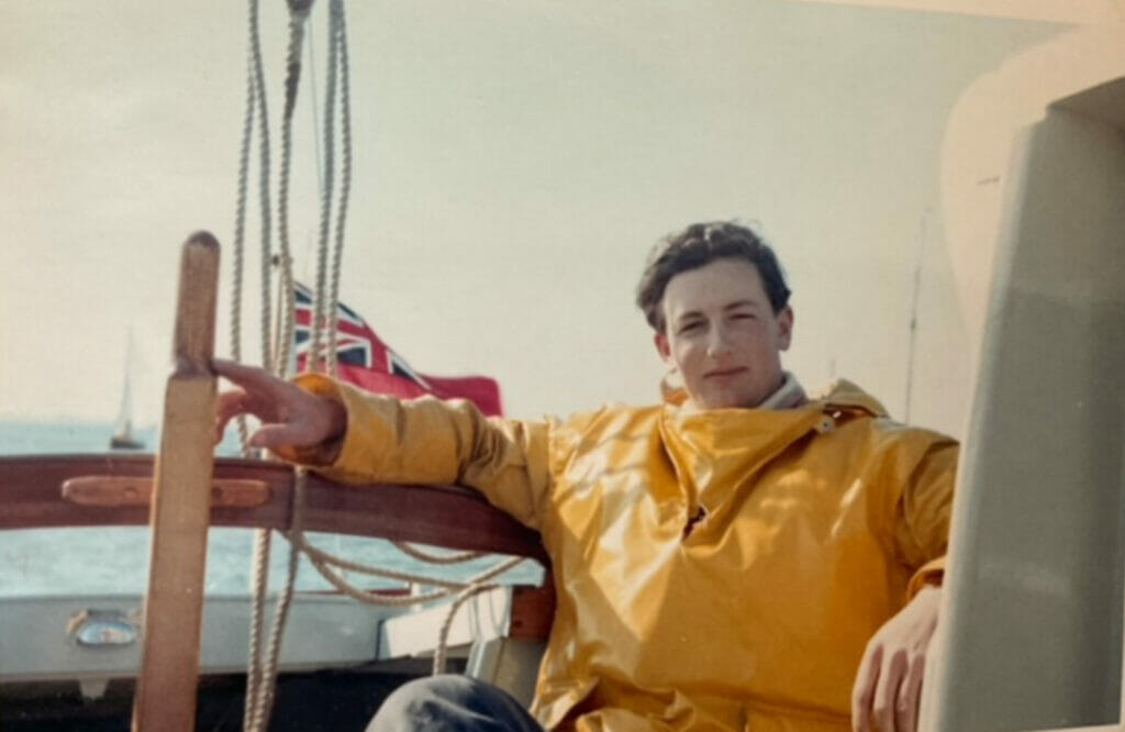 Son of the owner on the helm of T10 Calista in the early 1960s.