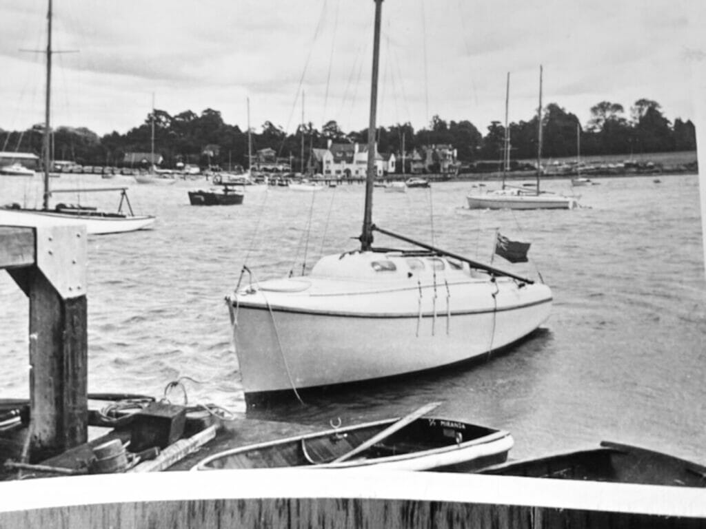 T10 afloat at Fairey Marine Hamble in 1962 or 1963.  A155 Miranda in the background.