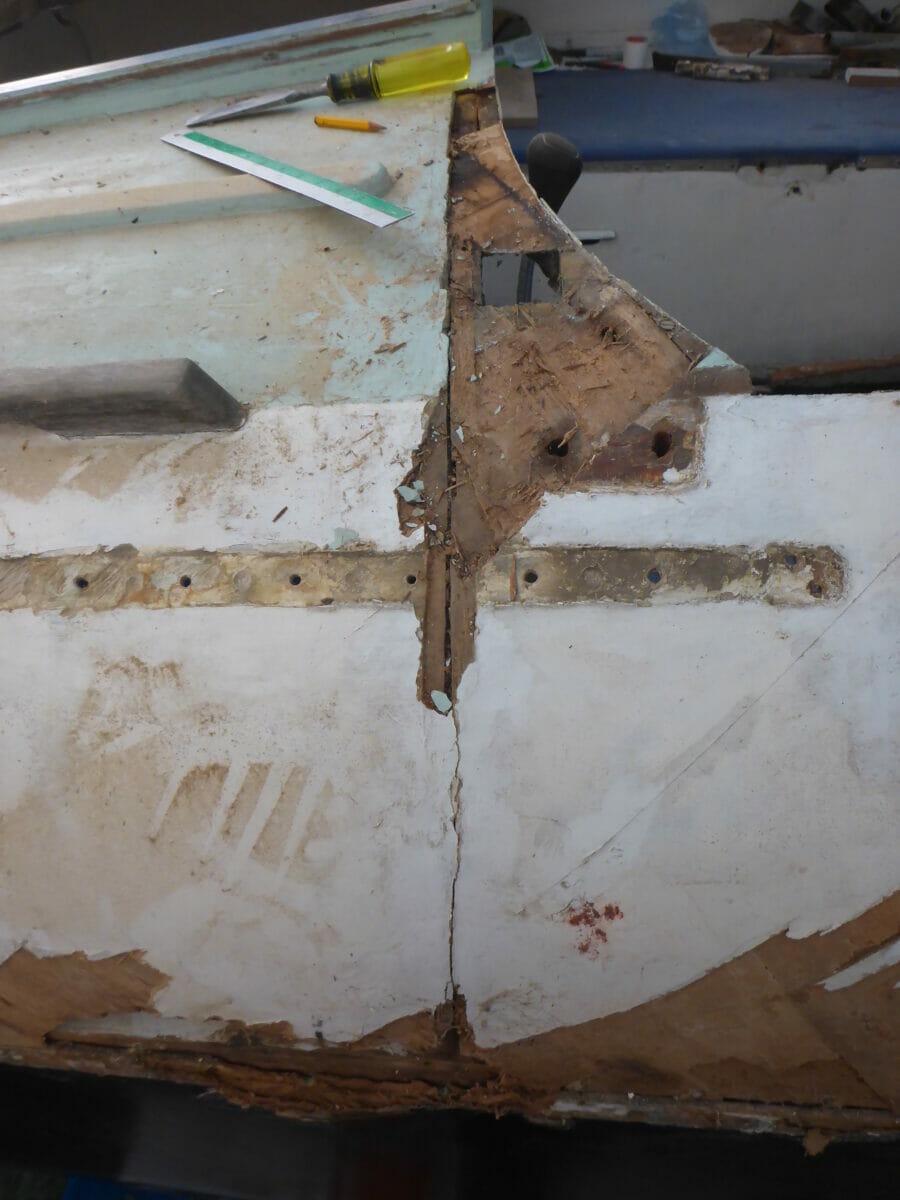 Vertical crack at forward end of aft deck