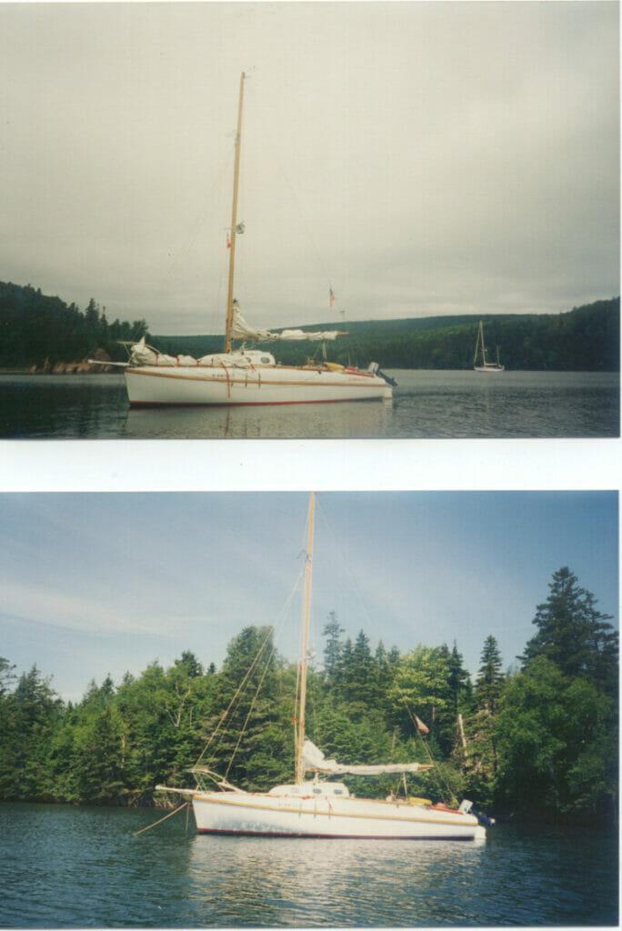 1996 Le Bateau Ivre, Dave and Michelle honeymoon. Note the bowsprit