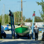 Leaving the yard for the slipway