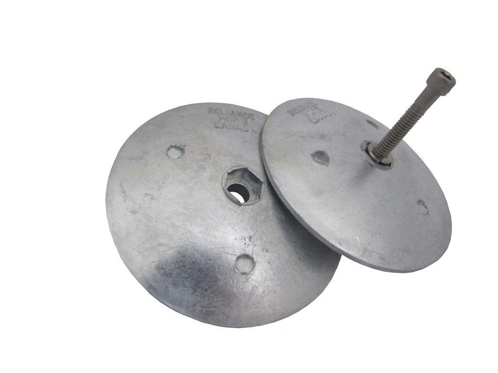 Magnesium large diameter anode for aluminium rudder